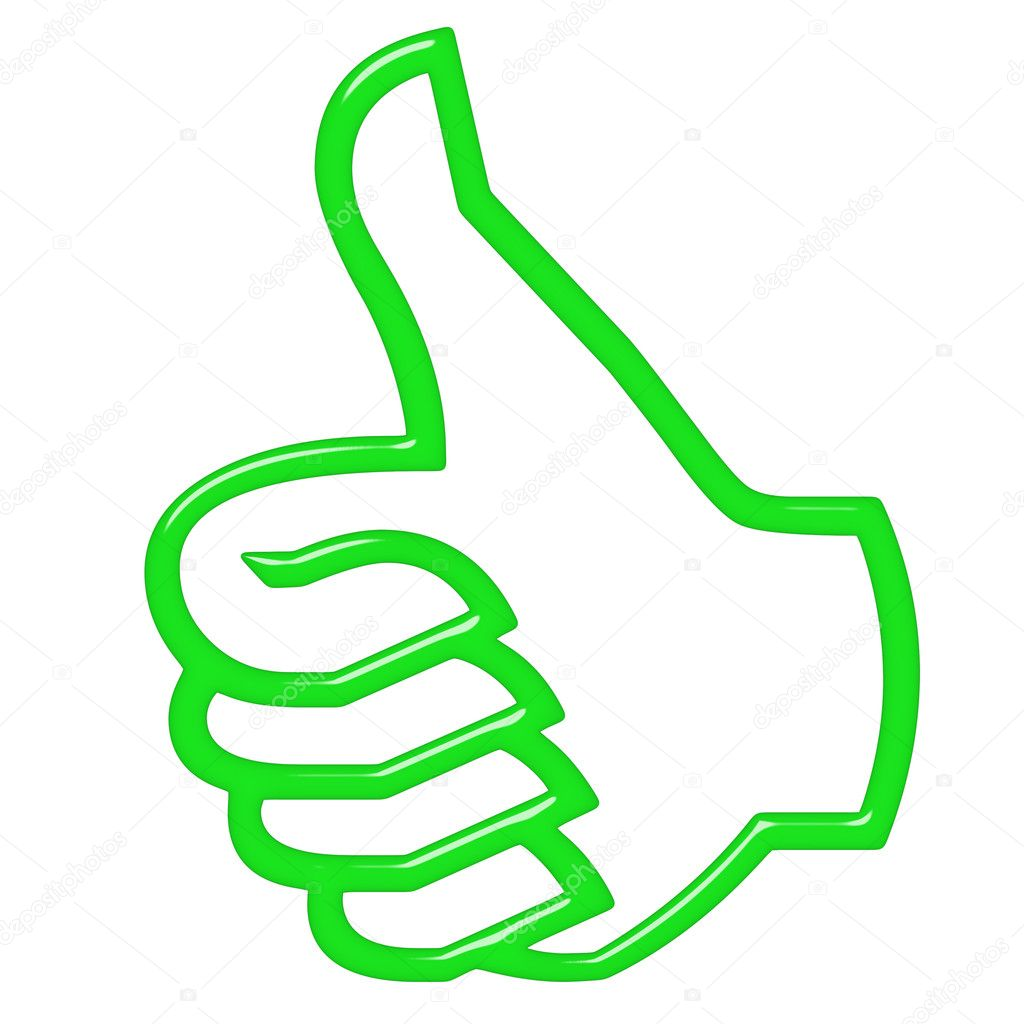 3d thumbs up isolated in white — Stock Photo #3377190