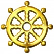 Stock Photo: 3D Golden Buddhism Symbol Wheel of Dharma