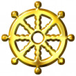 3D Golden Buddhism Symbol Wheel of Dharma — Stockfoto