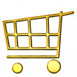 3D Golden Shopping Cart — Stock Photo