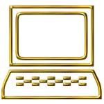 3D Golden Computer — Stock Photo