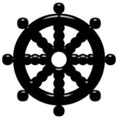 3D Buddhism Symbol Wheel of Dharma — Stock Photo