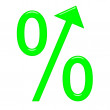 Royalty-Free Stock Photo: 3d percent symbol with arrow directed up