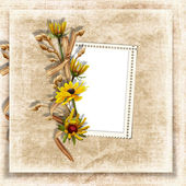 Vintage background with frame and flower — Stock Photo