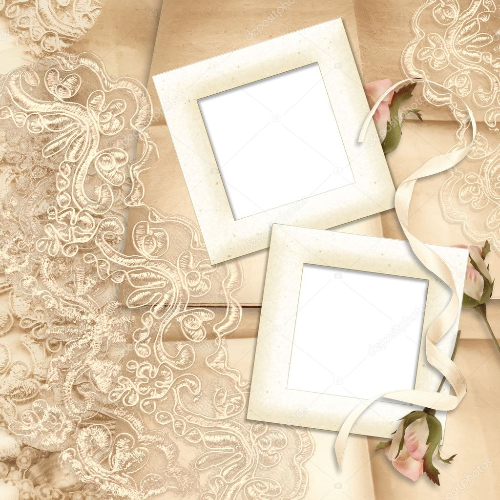victorian background wirh frame wiyh rose and lace — Stock Photo #3356033