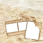 Vintage filmstrips with seashells and paper dolphin — Stock Photo