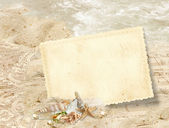 Vintage frame with seashells — Stock Photo