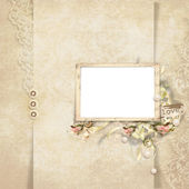 Vintage card for the holiday with frame and rose — Stock Photo