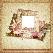 Vintage frame with rose petals and seashells — Stock Photo