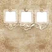 Old frame on victorian background with lace — Stock Photo