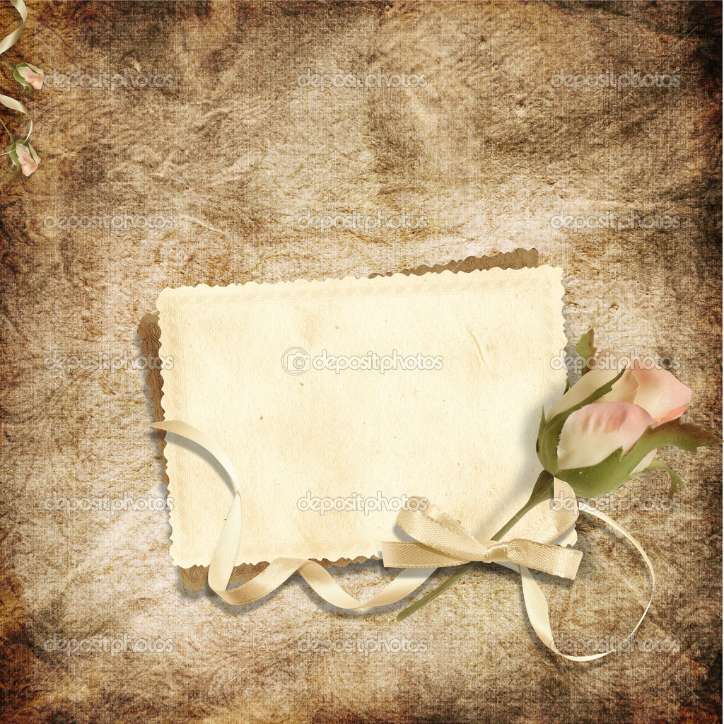 Beautiful card for congratulations or invitation on the vintage background — Stock Photo ...