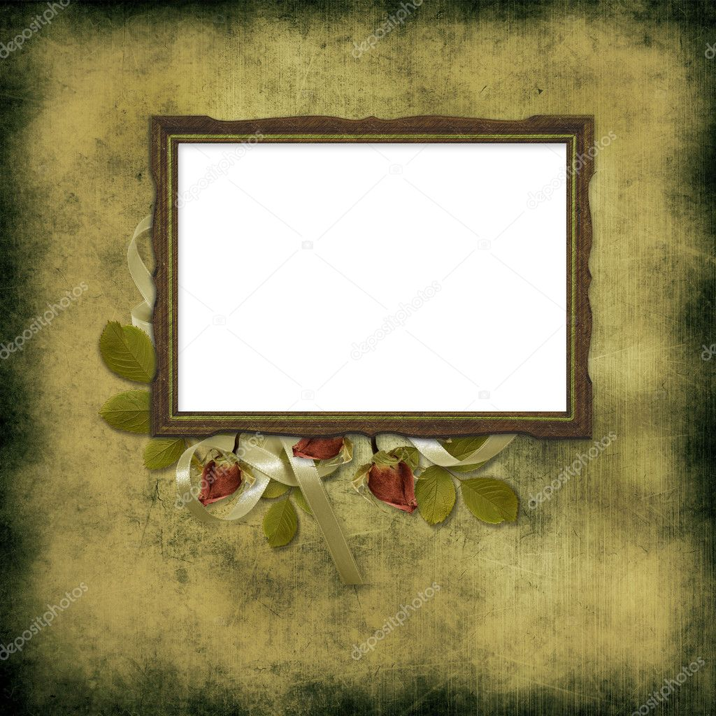 Old frame over grunge wallpaper and roses | Stock Photo © chiffa #