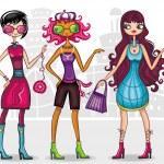 Urban fashion girls (fashion series) — Stock Vector