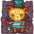 Funny tiger in top hat — Stock vektor