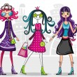 Urban fashion girls (from fashion girl — Stock Vector