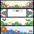 Floral banners (floral series) — Stock Vector