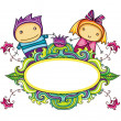 Floral frame with cute boy and girl — Stock Vector