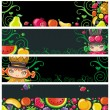 Colorful fruit banners. — Stock Vector