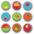 Fruity bottle caps  - vector set. — Stock Vector
