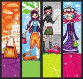 Banner di ragazze dello shopping urbano — Vettoriale Stock