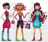 Urban fashion girls (fashion series) — Stock Vector