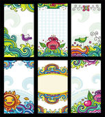 Colorful floral cards set (floral series — Stock Vector