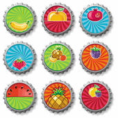 Fruity bottle caps - vector set. — Stok Vektör