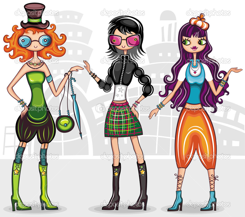 Urban fashion girls (from fashion girl series)  — Stock Vector #3240276
