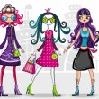 Stock Vector: Urban fashion girls