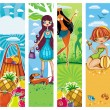 Vector vacation banners set 5. — Stock Vector