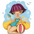 Cute girl at the beach — Stock Vector