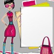 Shopping girl showing paper banner — Stock Vector