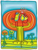 Vector ilustración de un árbol de otoño — Vector de stock