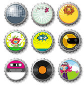Colorful bottle caps 9 - vector set — Stock Vector