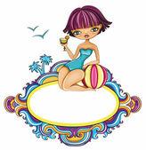 Sevimli kız sahilde — Stok Vektör