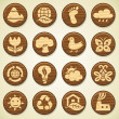 ECO. Wooden environment icons set - 图库矢量图片