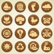 ECO. Wooden environment icons set - Stok Vektör