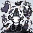 Vector de stock : Halloween dark set