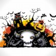 Spooky Halloween composition - Stok Vektr