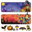 Vector de stock : Halloween cartoon banners. part 2