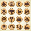 Stock Vector: Wooden environment icons set.