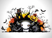 Spooky Halloween composition — Stock Vector