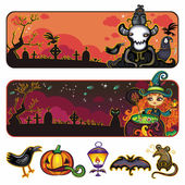 Halloween horizontal cartoon banners 1 — Stock Vector