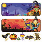 Halloween cartoon banners. part 2 — Vector de stock