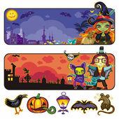 Halloween cartoon banners. part 2 — Vector de stock