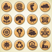 Wooden environment icons set. — Stock Vector