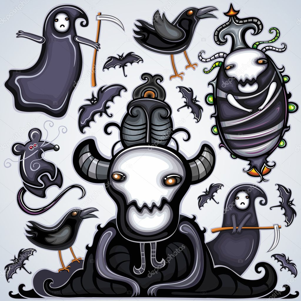 Vector set of dark Halloween design elements: horny dark lord, little death, bat, raven, rat,  dead larva.  Stock Vector #3908964