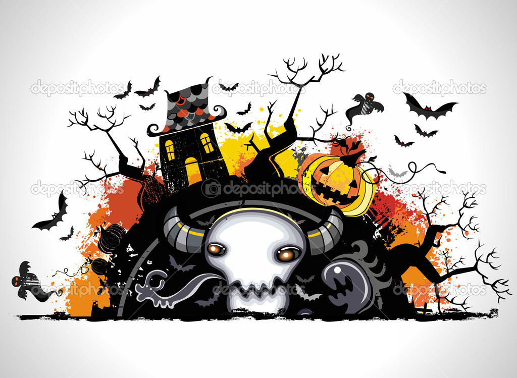 Spooky Halloween composition — Image vectorielle #3909009