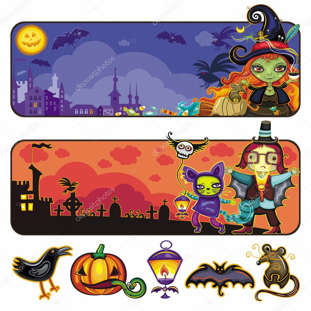 Colorful vector set of cartoon horizontal Halloween banners. With space for your text. — Stok Vektör #3909066
