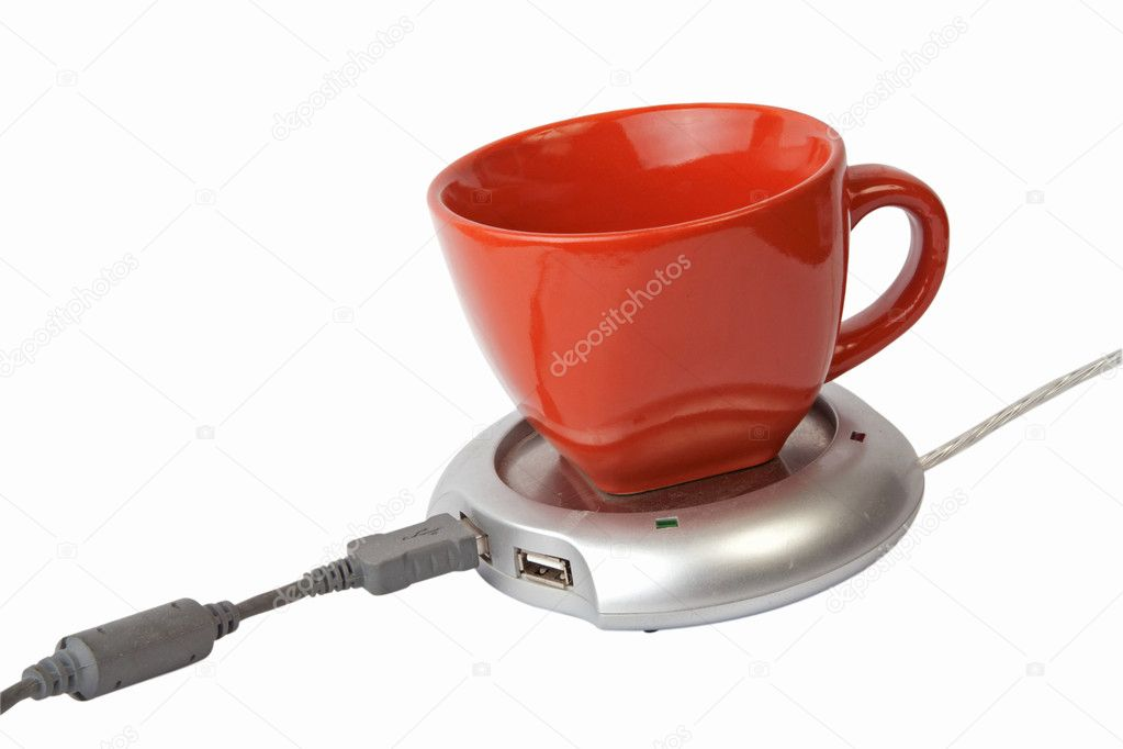 USB warmer with cup with clipping path — Stock Photo #2693345